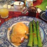 Breakfast- a Reuben eggs benny