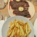 Cote de beouf pour 2;))))) It melts in your mouth.. Have it rare, it's beautiful;))