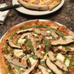 Great pizza! We had the Hawaiian and added grilled chicken to the Burata and Pesto. Thin, not to