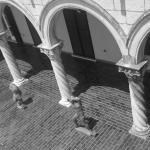 sculptures on terrace
