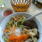 Rice noodles with beef and spring rolls