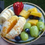 Yummy fresh fruit mix served each morning!
