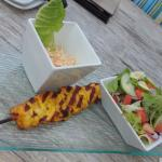 Curry Chicken Skewer with salad and coleslaw