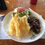 Combination with Tempura Shrimp and Teriyaki Beef