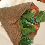Cold Smoked Crepe: smoked salmon, spinach, red onions and caper sauce
