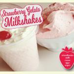 Strawberry gelato made with strawberries, milk, cream, eggs and sugar.