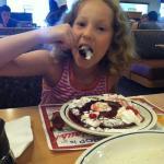 Funny Face pancake being enjoyed