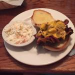 Cheeseburger with bacon and cole slaw. Darn good!