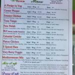 Menu for salads, wraps, and pasta