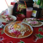 Tacos al pastor, tostadas and amazing huaraches (on the right).