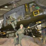 Lifesize diorama of soldiers disembarking from a Huey in the Republic of Vietnam