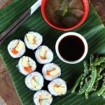 Vespas Sushi set, with Sushi, Miso soup, soya sauce & beans