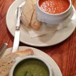 Tomato n Pepper Soup and Pea n Pesto :-)