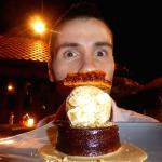 Sebastien about to gorge on this delicious honeycomb cake with ice cream dessert.