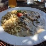 Jaegerschnitzel in the beer garden