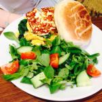 All day veggie breakfast and halloumi muffin brunch - tasty!