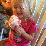 My granddaughter thoroughly enjoyed this strawberry cupcake that was almost as big as her head.