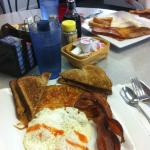 The breakfast special - eggs, toast, hash browns, choice of meat - mmmm plath's bacon!