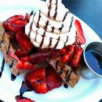 Blue Corn Waffles with Swiss Chocolate Whipped Cream