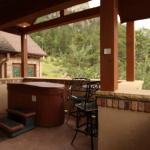 Outdoor hot tub and hightop pub table for 2