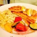 Schnitzel, escargot and fresh tomato salad yum!