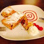 Amazing desserts. Apple Strudel and chocolate raspberry torte special