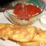 beer battered fish fry with spaghetti side