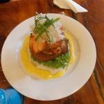 potato cakes with salmon and hollandaise sauce