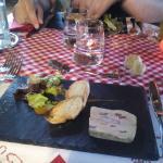 entrée foie gras de canard au crevettes