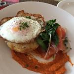 Lovely crepes and poached egg with potato gratin