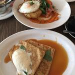 Crepes and poached egg with salmon and potato