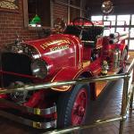 Fire truck in lobby.