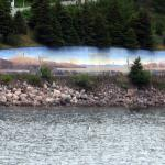 mural along the waterfront in Holyrood
