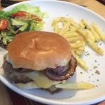 Cheeseburger with side salad and a scattering of pre-frozen fries. Nothing amazing.