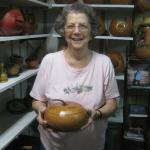 Margaret in shop with gourds