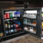 Stocked refrigerator in one of the Fantasy Tower rooms.