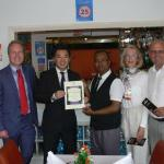 HONOURED From left: Cllr Mike Wilson, Alan Mak MP, Alomgir Hussain, Sue Tinney and Cllr Andy Len