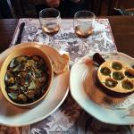 Delicious escargot and mussels!