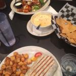 Breakfast burrito & buffalo chicken salad