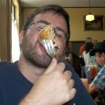 Enjoying a cream cheese cinnamon roll