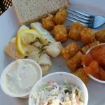 Baked Cod with tots, coleslaw, tartar sauce and chunky applesauce