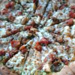 Shitake?  pizza with pesto sauce