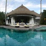 View of the living area from across the pool