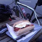 Mid bike ride refueling stop