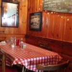 Corner table with chalkboard specials