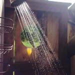 Mimosas in the outdoor shower in the morning!