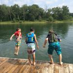 The boys jumping off the deck!