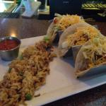 Fish tacos and rice pilaf