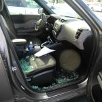This is what I came back to at the cemetery..window broken and my purse stolen.