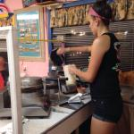 Making the waffle cones. It was her turn.